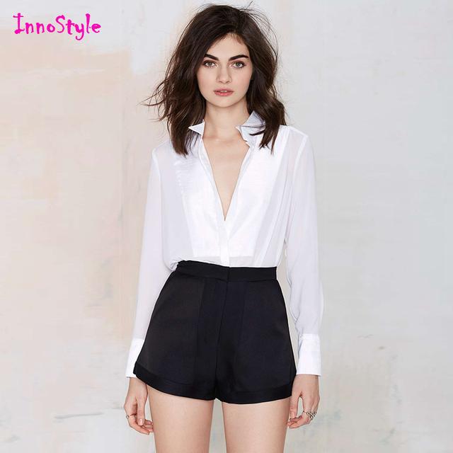 Bolso calções palazzo perna ampla cintura alta shorts para mulheres ladies magro cabido preto shorts femme plus size calças casuais