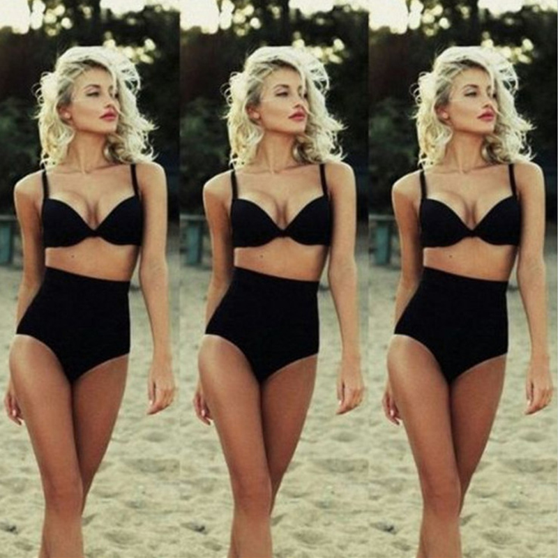 European and American style new solid color bikini set swimsuit sexy black retro high waist bikini swimsuit beach hot spring ess bikini swim new 2017 european and american high waisted bikini fission sexy women swimsuit bikini
