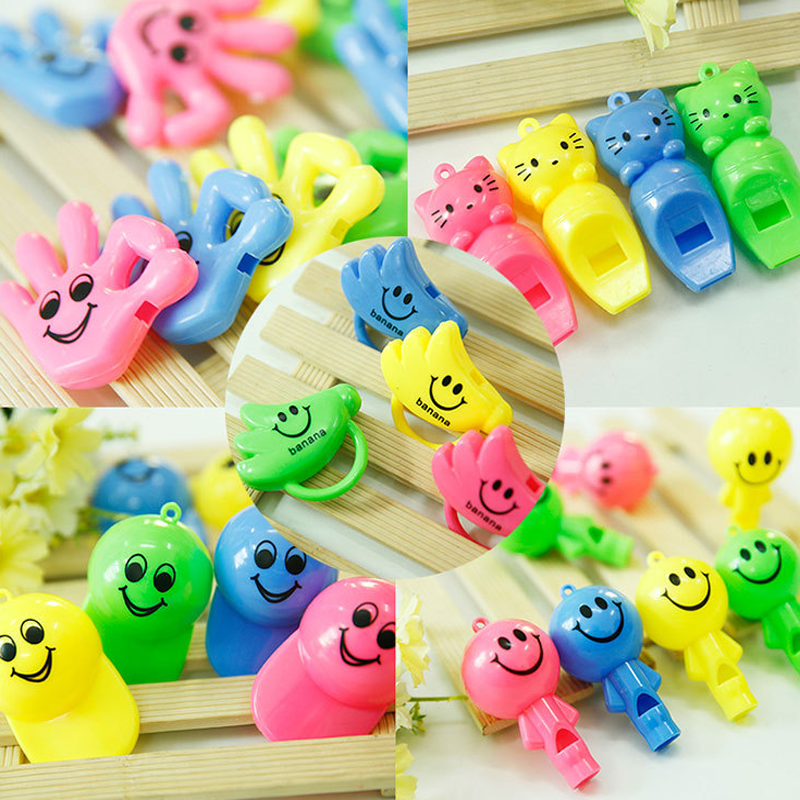 10 Pcs/lot Cute Children Plastic Whistle Creative Banana Shape 7 Designs Childlike Toy Type Random Color