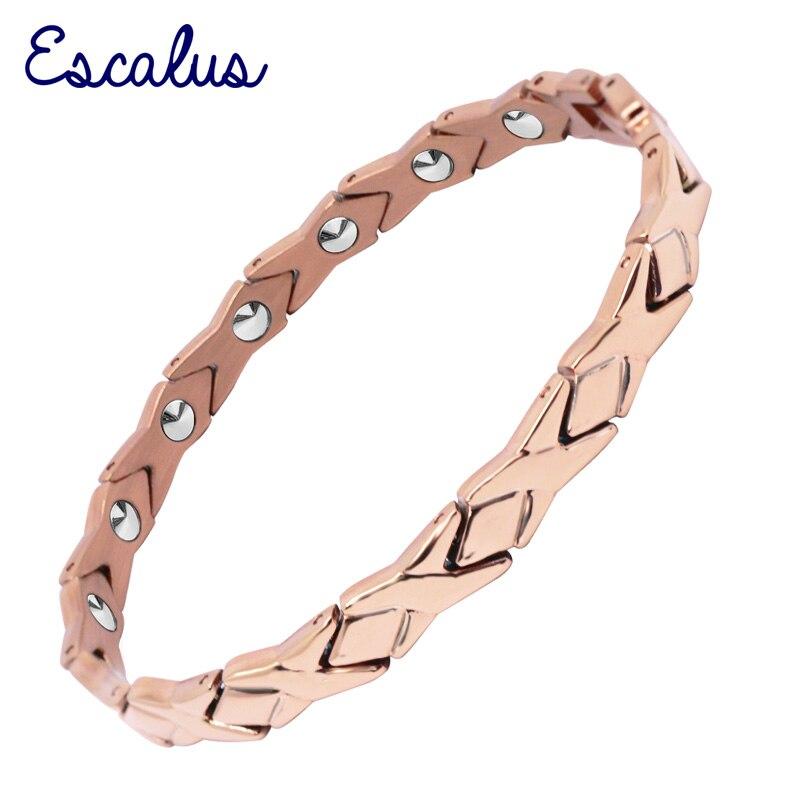 Escalus Bowknot 14 pièces 99.9999% plein Germanium pur pour les femmes Bracelets or Rose couleur titane Bracelet Bracelet charme