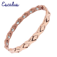 Escalus Bowknot 14pcs 99.9999% Full High Pure Germanium For Women Bracelets Rose Gold Color Titanium Bracelet Wristband Charm