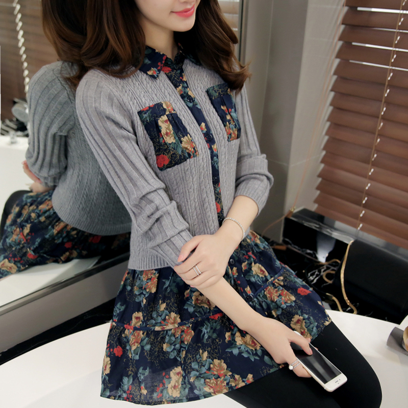 The new spring 2016 dress Korean dress spring station in Europe in the long base package hip sweater