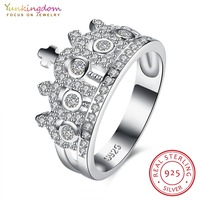 Yunkingdom 925 Sterling Silver Crown Ring With Cubic Zirconia For Women Wedding Fine Jewelry