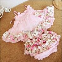 Rosa Bebê Floral Conjunto Bloomer, Do Bebê Do algodão Superior e conjunto bloomer, Rosa Bonito Vestido Balanço meninas outfit