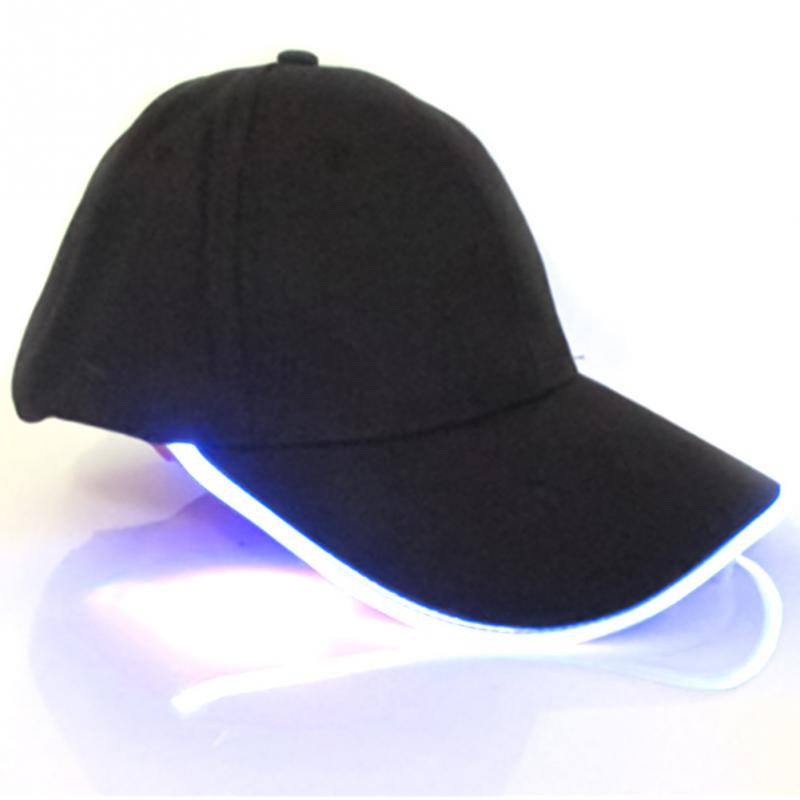 2018 Unisex Light Flash Baseball Cap LED Lighted Glow Club Party Black Travel Hat Baseball Cap Hip-Hop Adjustable Hat Glow Hat