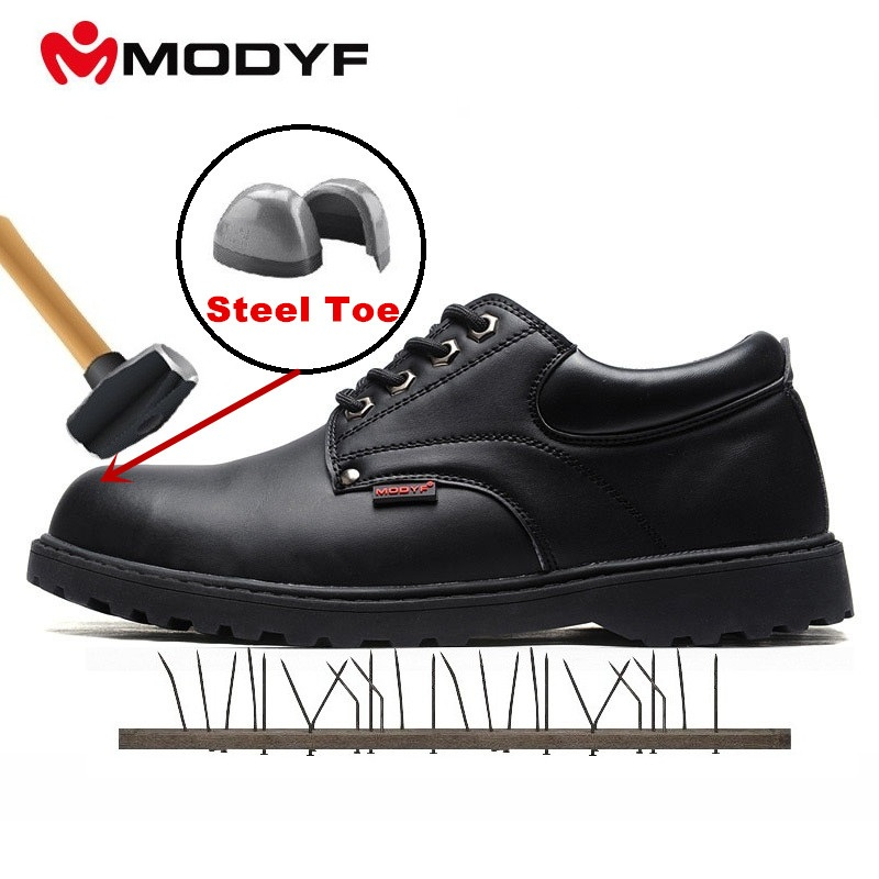 MODYF Men Safety Shoes Retro Style Men Leather Shoes Formal Business Shoes Loafers Oxford Work Outdoor