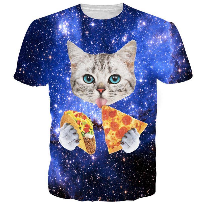 Women Men Funny Cat Kitty 3D Print Short Sleeve T-shirt Summer Casual Tee Tops