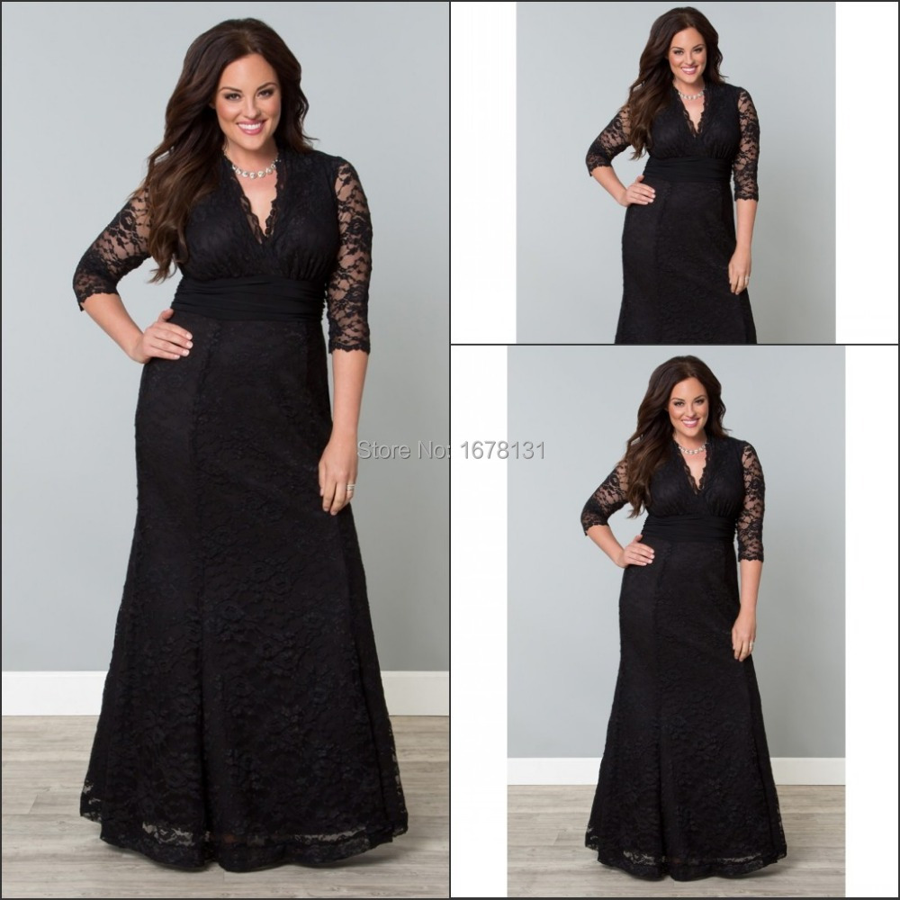 new design 2015 black long lace mermaid 3 4 sleeve v neck formal evening dress for women plus. Black Bedroom Furniture Sets. Home Design Ideas