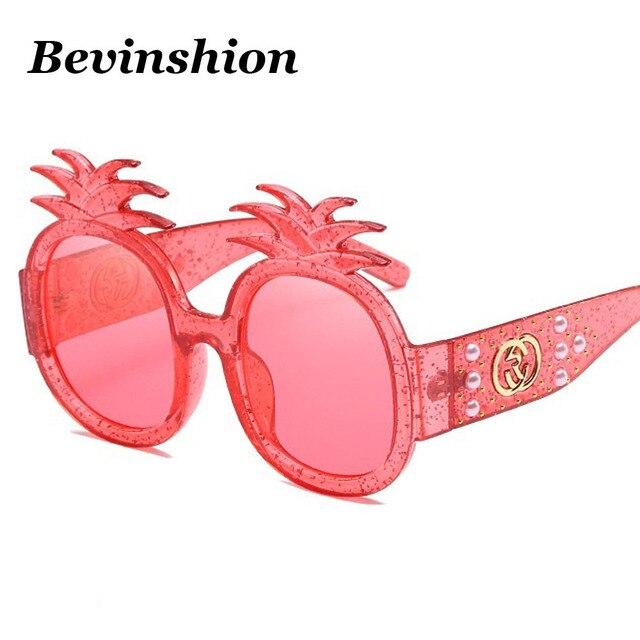 430e760a9 Novas Mulheres Óculos de Sol Pérola Rebites Mosaico Grande Quadro de  Abacaxi Fresco Feminino Óculos de
