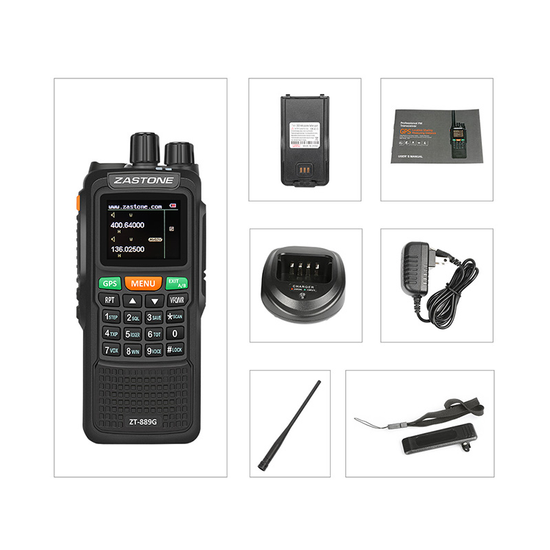 ZASTONE 889G GPS SOS Walkie Talkie 10W 3000mAh VHF Radio 134-174Mhz UHF 400-520Mhz 999CH Radio Transceiver Portable telsiz