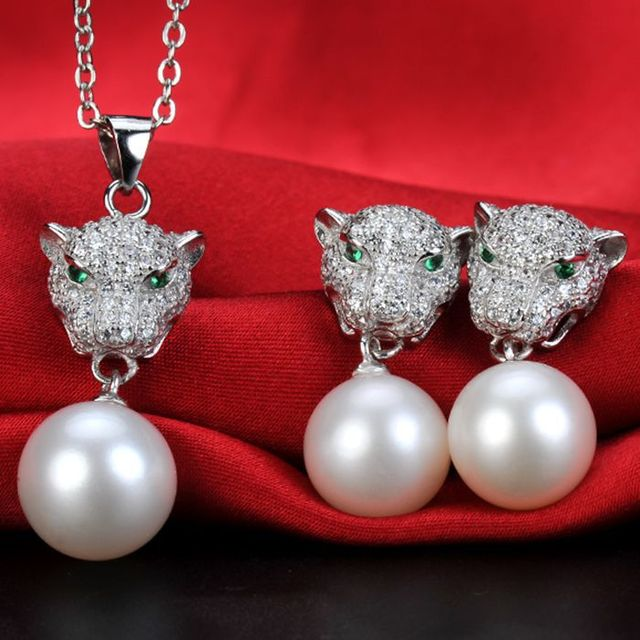 f8cf7ea83ccac Leopard Design Natural Pearl Jewelry Set Genuine Pearl Pendant  Necklace+Pearl Drop Earrings Perfectly Round Pearls Women Gifts-in Jewelry  Sets from ...