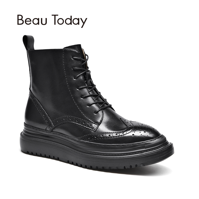 BeauToday Martin Boots Women Brogue Style Genuine Calf Leather Lace Up Zipper Ankle Length Boot Brand Lady Shoes Handmade 03408 2017 autumn fashion boots sequins women shoes lady pu leather white boots bling brand martin boots breathable black lace up pink