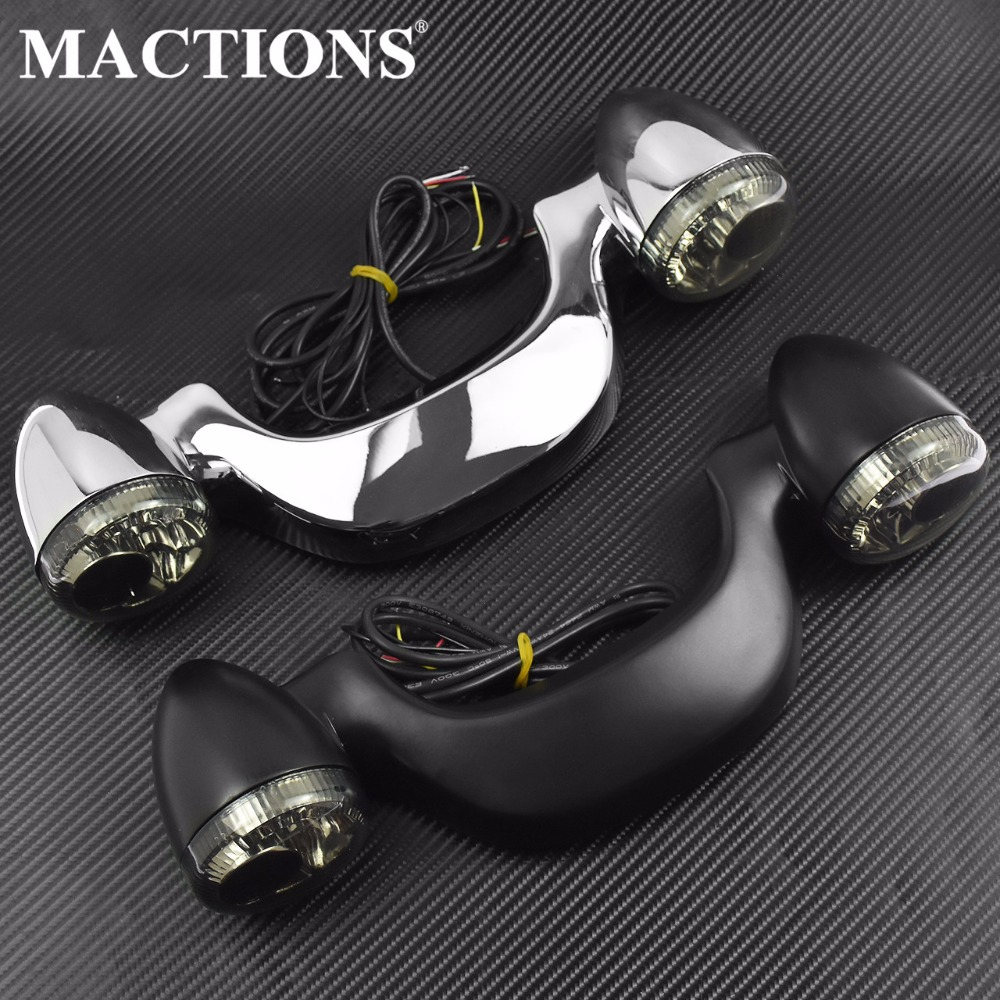 Motorcycle Parts Smoke Rear LED Brake Light Turn Signal Bar Black & Chrome For Harley Touring Street Road Glide 2010-15 16 2017