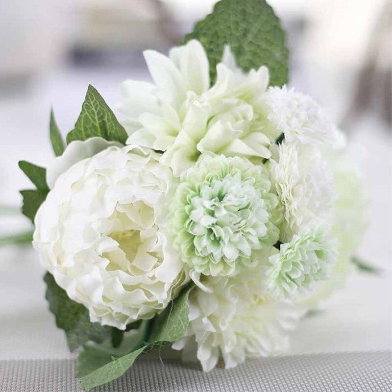 Silk Flower Wedding Bouquets For Sale: Cheap Sale Elegant Artificial Silk Flower Dahlia Peony