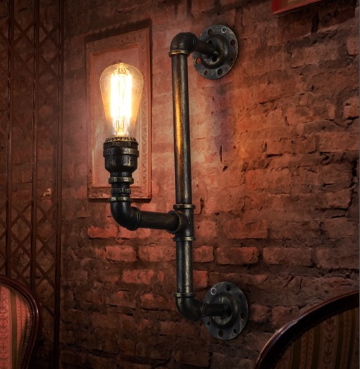Loft Style Iron Water Pipe Lamp Industrial Vintage Wall Light Fixtures Edison Wall Sconces Indoor Lighting Lampara Pared loft style iron edison wall sconce creative water pipe lamp industrial vintage wall light fixtures indoor lighting lampara