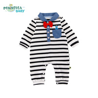 Baby Boy Clothes Newborn Wedding Clothes Baby Rompers Long Sleeve Gentleman Handsome Striped Overalls Kids Girls Jumpsuit