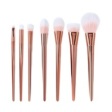 Fashion 7Pcs Beauty Brush Professional Rose Gold Metal Handle Make-Up Brushes Super Soft Fiber Hair Makeup Brushes Set New Hot