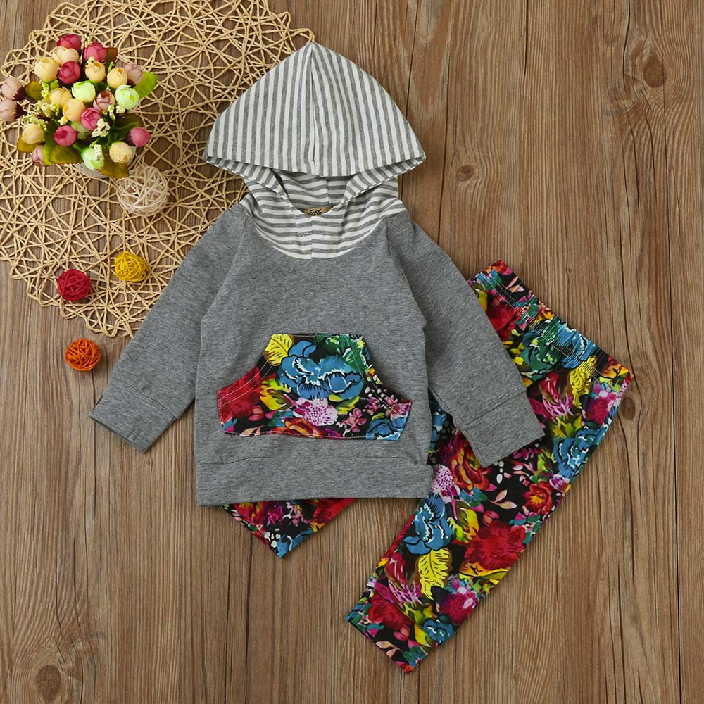 Fashion Newborn Infant Baby Girls Letter Print Tops+Flower Pants+Floral Hats Clothes Set Fashion Autumn Winter Baby Tops pants