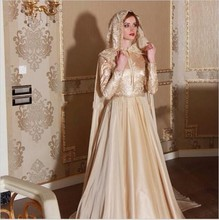 Muslim Champagne Evening Dresses Appliques Lace With Hijab Long Wrap High Neck Long Sleeve Turkish Party Dresses Robe De Soiree