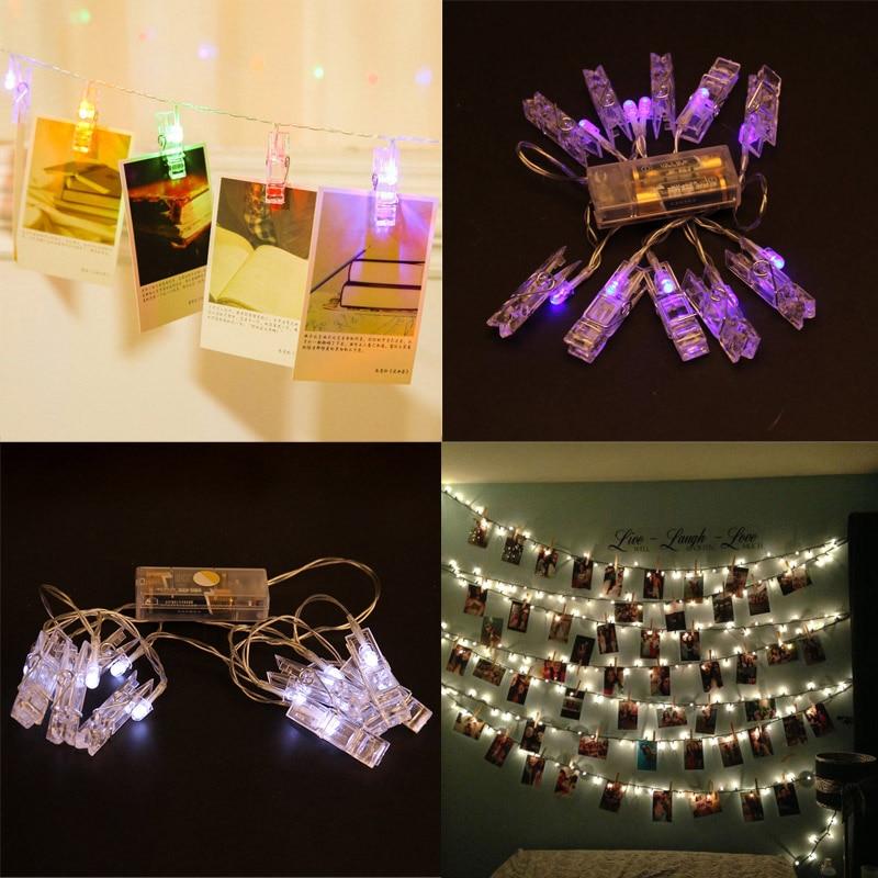 LED String Lights 10 Rattan Ball Romantic Wedding Birthday Party Favors Photo Clip Fairy Light Home Garden Christmas Decor