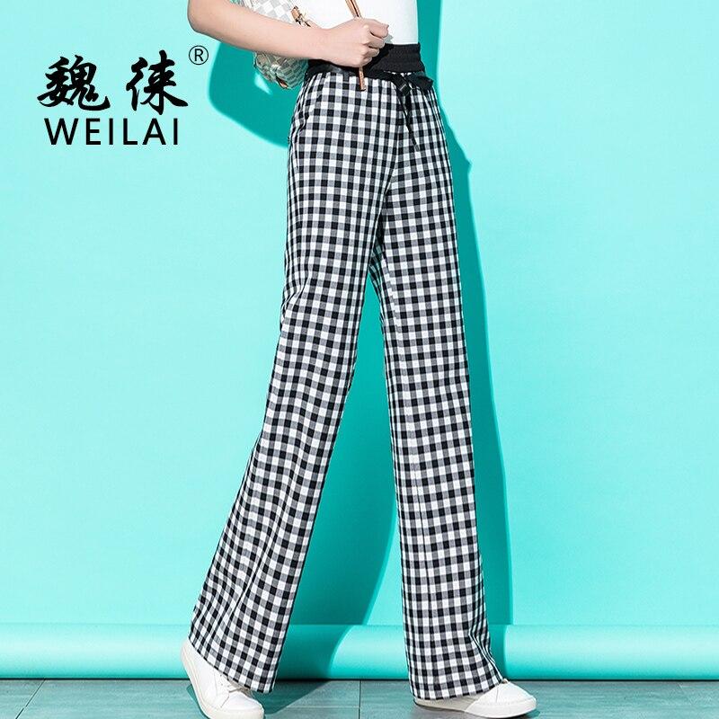 Women Plaid   Wide     Leg     Pants   Knitted High Waist Sweatpants Full Length Casual Loose Harajuku   Pants   Korean Palazzo Elastic   Pants