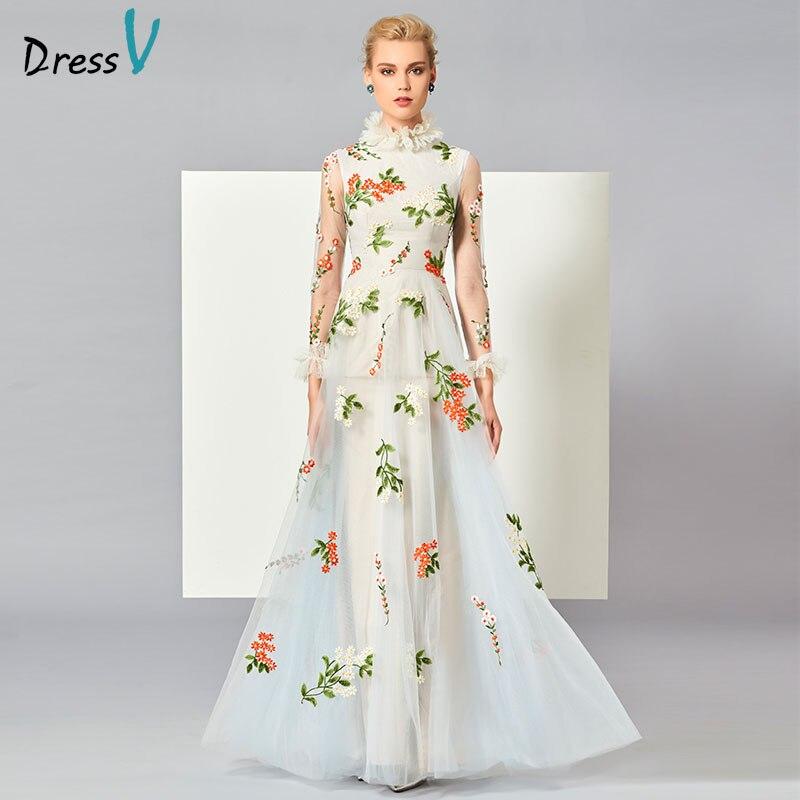 Dressv white appliques long   evening     dress   high neck long sleeve floor length zipper elegant A line formal party   evening     dresses