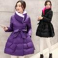 Cinturón de maternidad invierno wadded la chaqueta del collar del soporte de moda chaqueta larga parkas capa abrigos para las mujeres embarazadas
