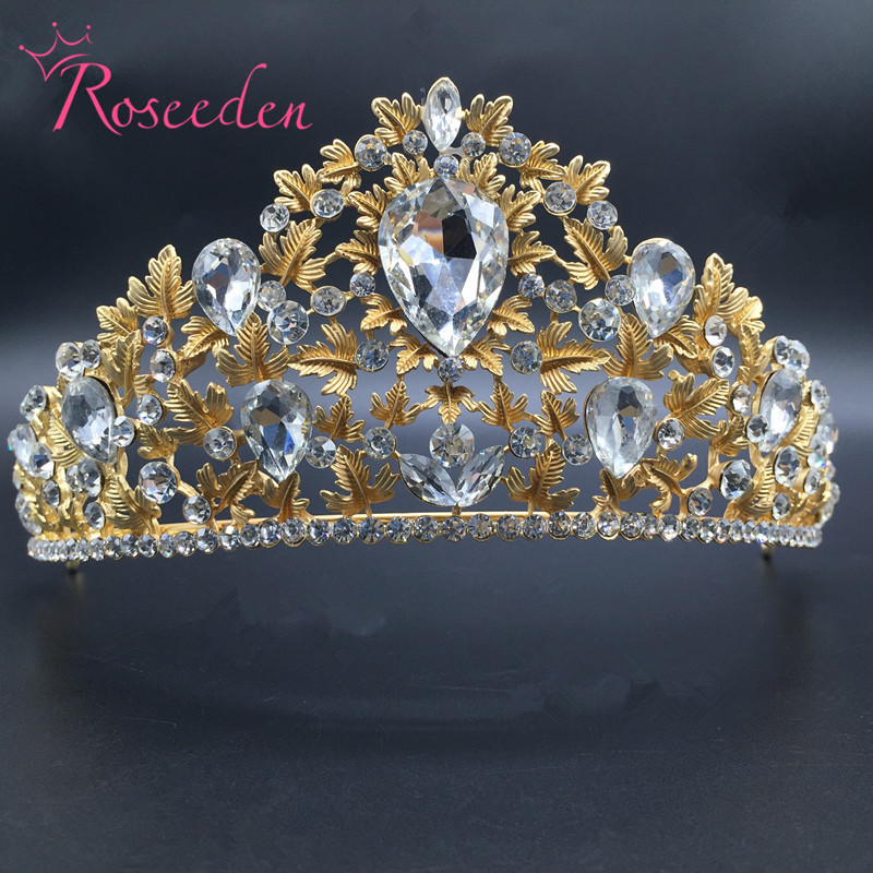 High Quality gold tiara and crowns Alloy Shinning Simulated Crystal Tiara Bridal Wedding Hair AccessoriesRE297