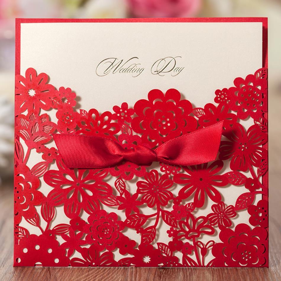 1 PCS Sample Red Elegant Laser Cut Chinese Wedding Invitation Card ...