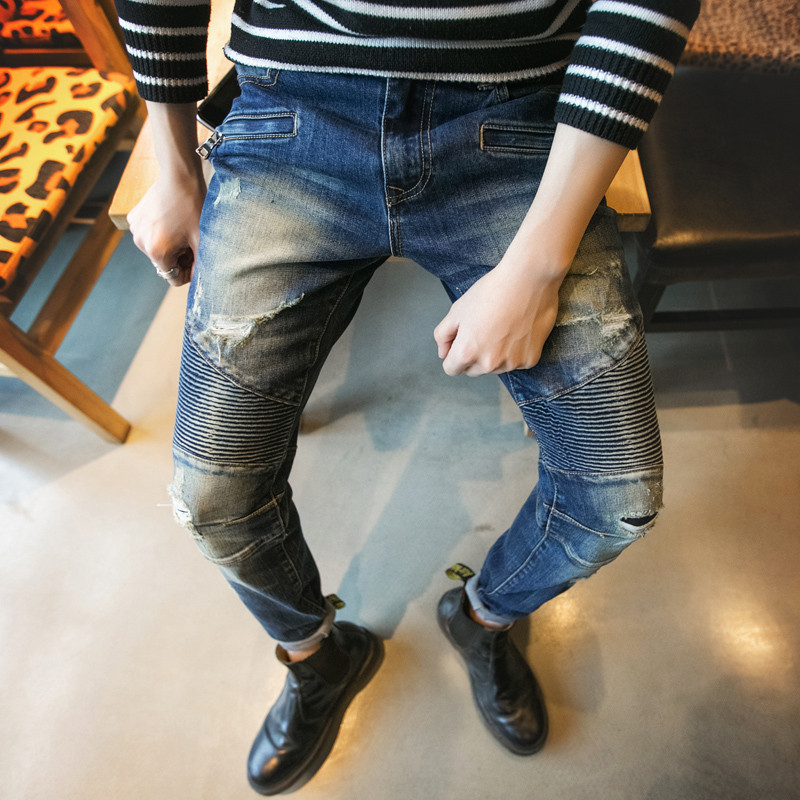 ФОТО high quality ripped jeans for men skinny Distressed slim designer biker hip hop swag blue slim jeans kanye west Plus Size 28-34
