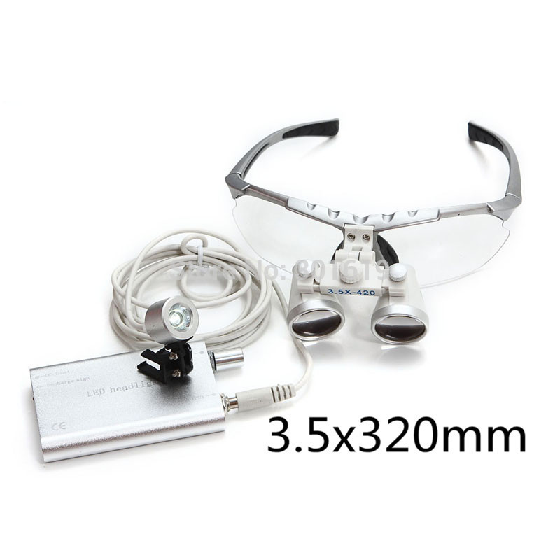 Wholesale Free shipping New 3 5X320 magnifier Dentist Dental Surgical Binocular Loupes Optical and Portable LED