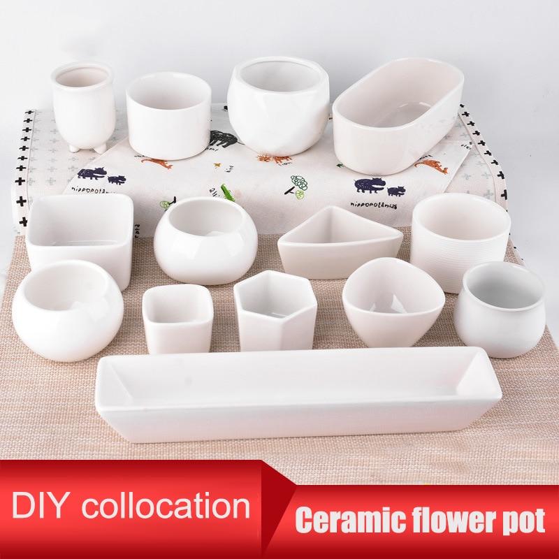 DIY Ceramic Sugar Serial Succulent Plant Pot Cactus Plant Pot Flower Bonsai Pots Container Planter Garden Decoration 13 Type