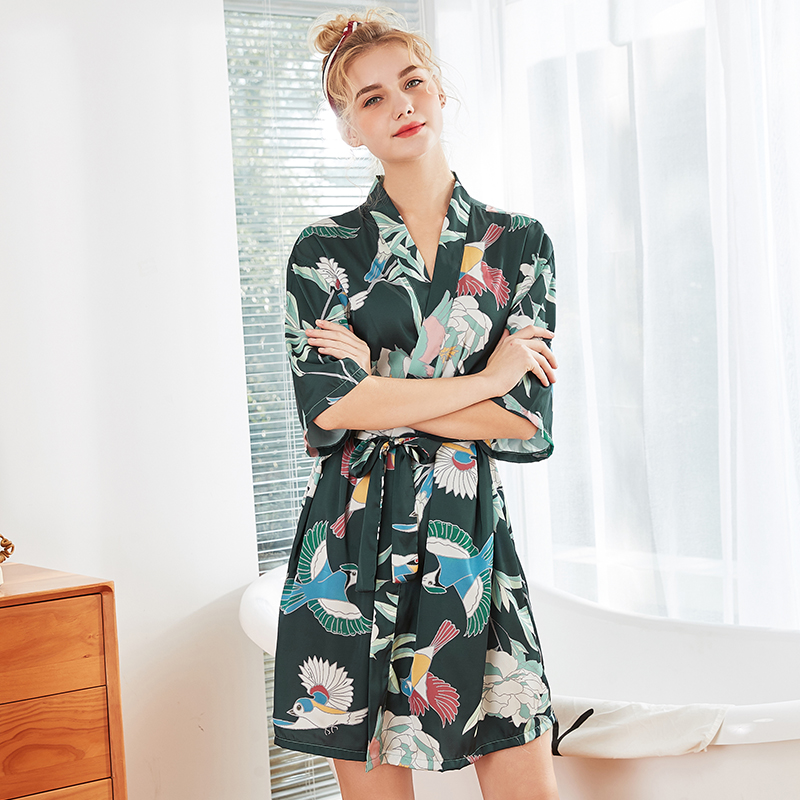Women Sleepwear Rayon Satin Summer Robe Kimono Bath Gown Print Flower Sexy Bride Bridesmaid Wedding Bathrobe Casual Nightwear