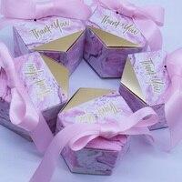 Новый розовый творческий мраморность стиль свадебной вечерние поставки Baby Shower украшения спасибо Подарочная коробка конфет Коробки Бумага ...