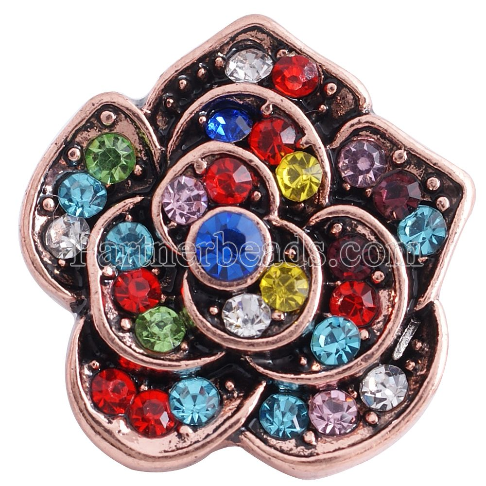 Newest 18mm snap button jewelry with colorful rhinestone snap Jewelry fit snap bracelet bangle for mothers day gift KC6253