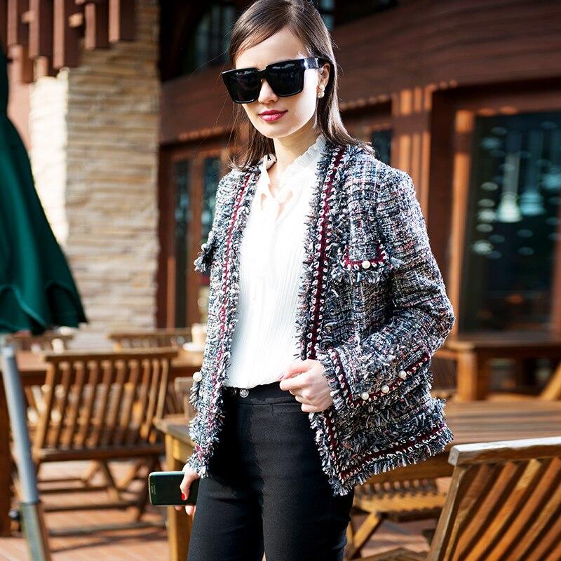 Bureau Manteau Poches Femmes Travail Tweed Boutonnage Mode Casual Gland Lurex Double Laine Perles Veste Hiver Bouton Automne Court qxfZTRqgw