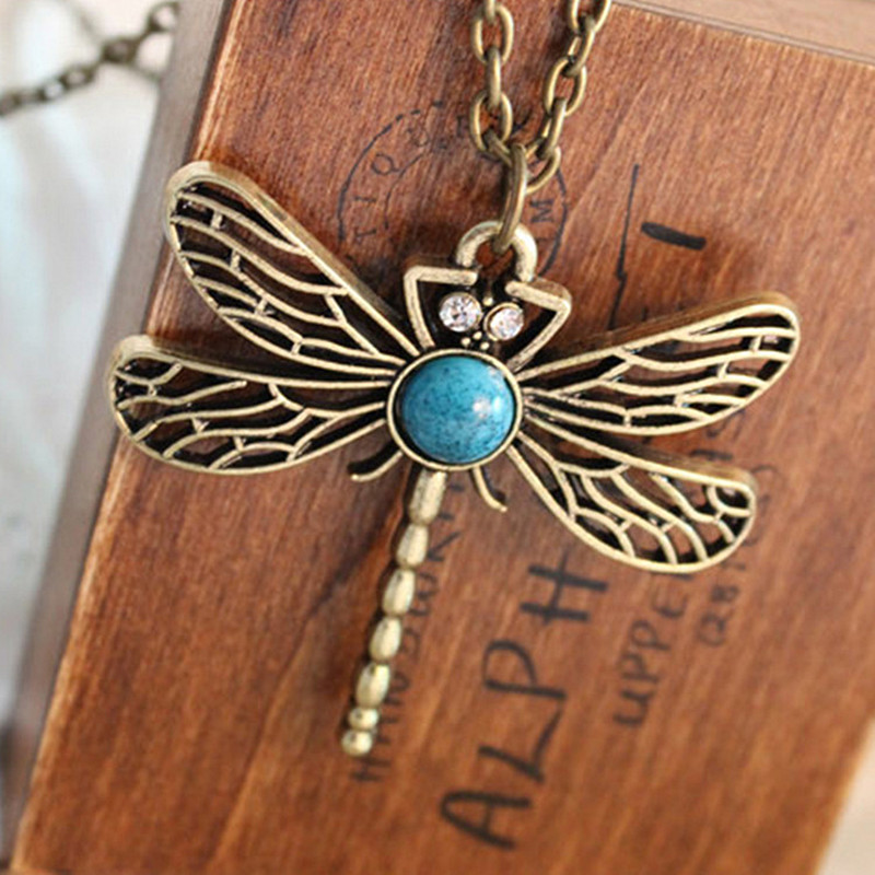 N379 Vintage Hollow Dragonfly Pendants Necklaces Women Antique Jewelry Accessories 2017 Collares Wholesales