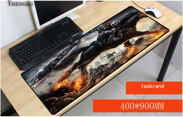 Yuzuoan Black Horse Office Mice Gamer Soft Large Mouse Pad With Locking Edge For desktop ...