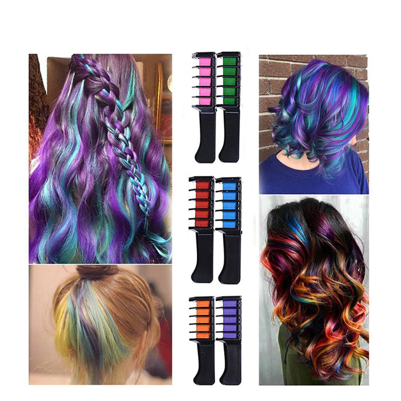 1pcs 6 Colors One Time Mini Hair Color Comb Fashion Design Crayons Hair Color Mascara Dye Temporary Hair Multi-Color Hair Care