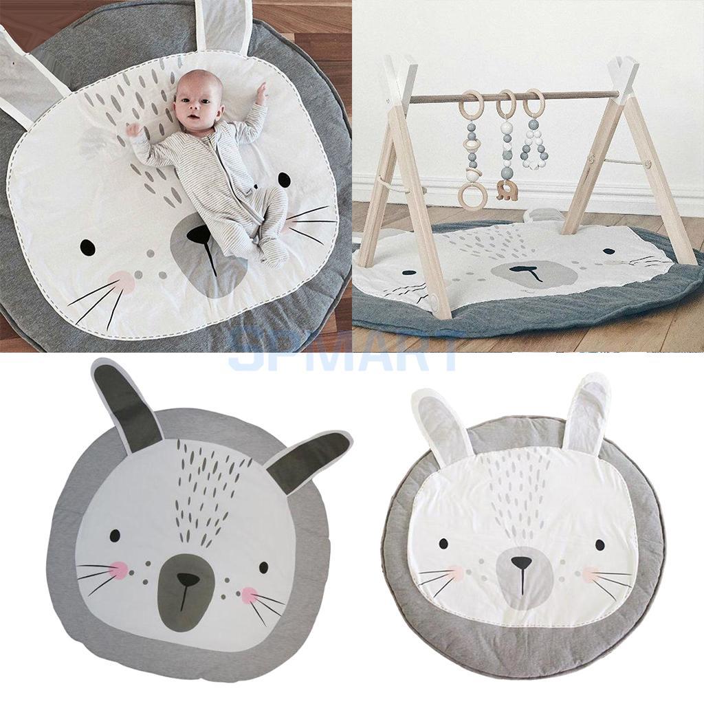 Set of 2 Rabbit Rug, Children Baby Play Mat, Baby Nap Mat, Cartoon Games Mat, Toddler Crawl Pads Round Mats, Portable