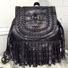Моды натуральная кожа рюкзак женщины сумку шить стиль плечо девушки школьные сумки кисточкой заклепки женщин овчины back pack