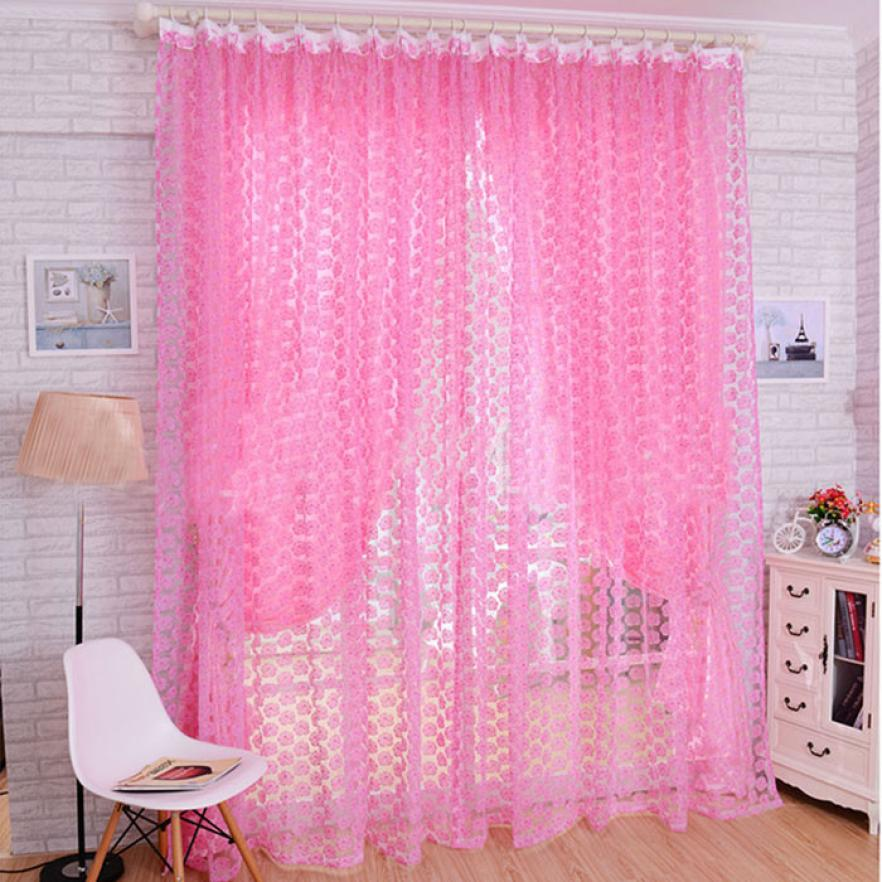 Rideau Voilage 2018 Fashion Rose Tulle Window Screens Door Balcony ...