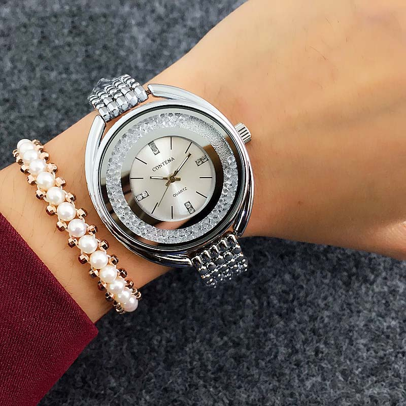 Contena Топ Марка часы-браслет Для женщин Часы Роскошные Алмаз Женские часы женские часы Saat Montre Femme Relogio feminino