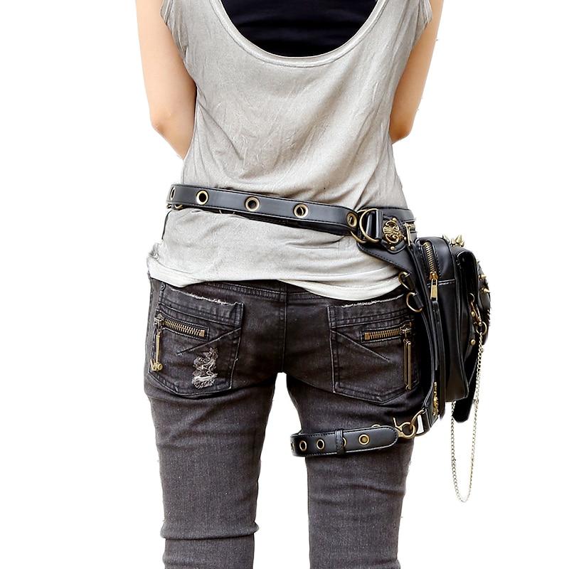 Steampunk Skull Bag Messenger Shoulder Leg Bag Gothic Female Bag Personality 2017 New Fashion Men Women Waist Bag
