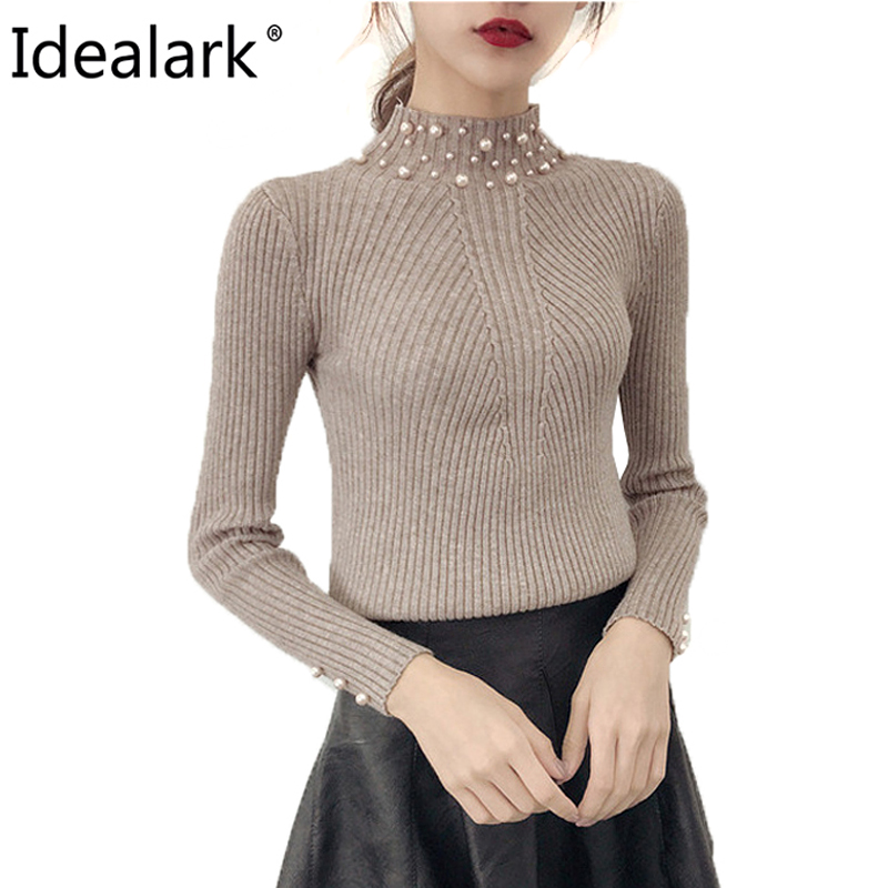 Idealark 2018 Pearl Beaded Pure Color batwing Sleeve Loose round Neck Long Sleeve Cute Women knit Sweaters and Pullovers WC0665