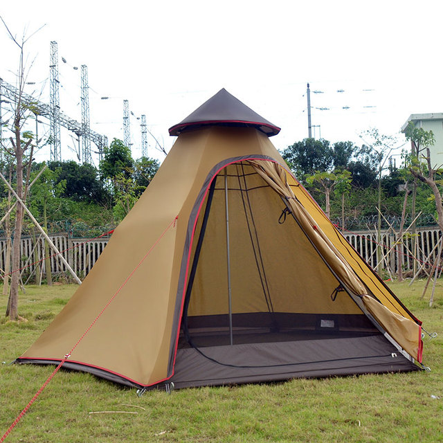 On sale Luxury Indian yurt 2 layer driving hiking fishing beach party faimly hexagonal tower base cycling outdoor camping tent