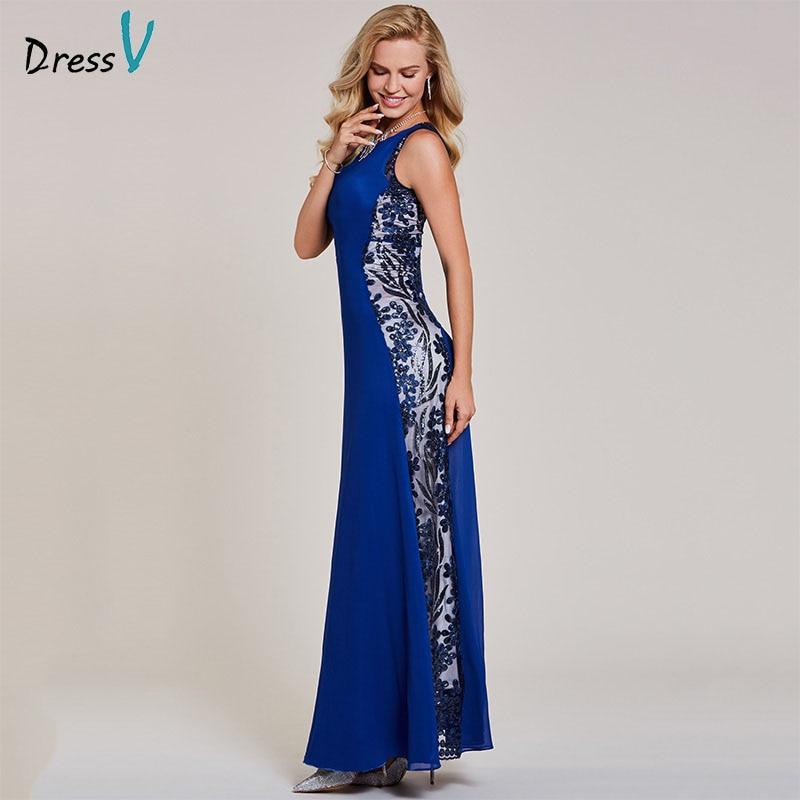 Dressv Dark Royal Blue Long Evening Dress Cheap Scoop Neck
