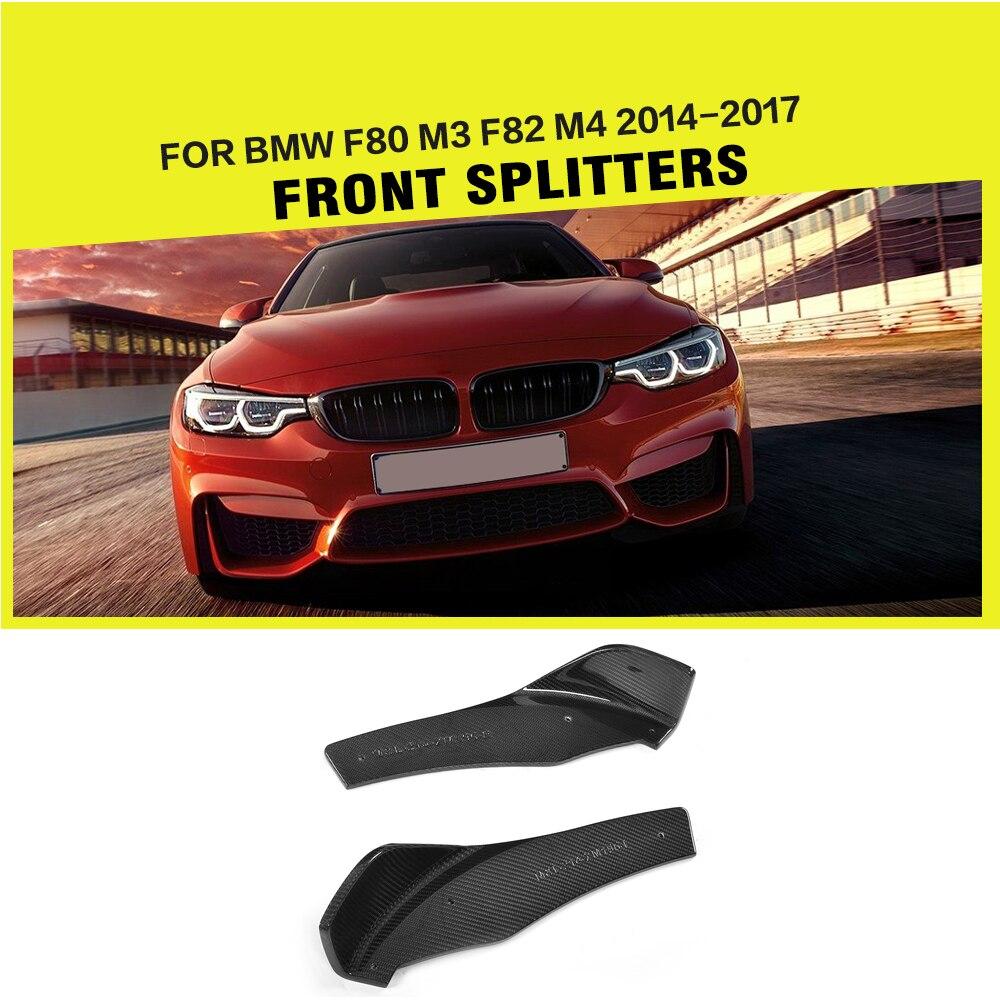 2pcs set carbon fiber front bumper splitters flags trims for bmw f80 m3 f82 m4 coupe 2 door 2014 2017 car accessories