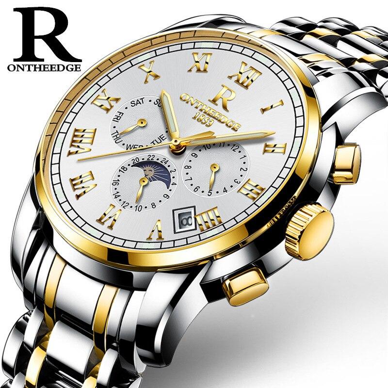 Zegarki Meskie Brand Multifunction Mechanical Watch Men Fashion Watches Montres Waterproof Clock Sun Moon Calendar reloj hombre