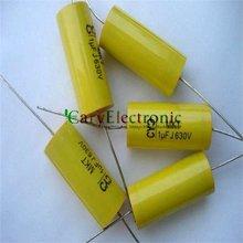 Venta al por mayor y al por menor de cables largos condensadores de película de poliéster amarillo Axial electrónica 1,0 uF 630V fr amplificador de tubo audio envío gratis